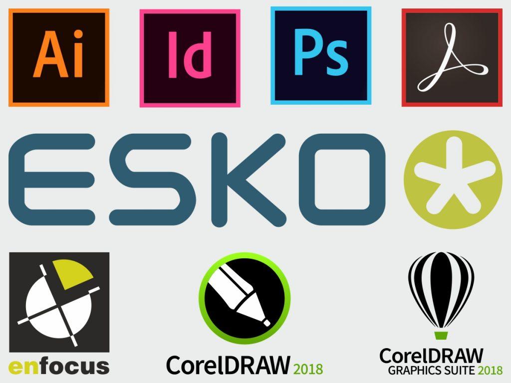Adobe CC Illustrator, In Design, Photoshop, Acrobat ESKO, Enfocus, Corel Logos